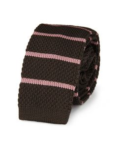 Cravate tricot Bandes Rose